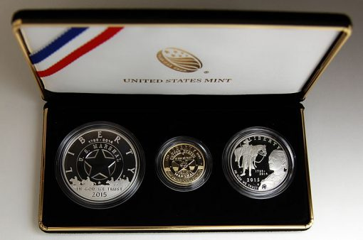 A photo of the US Marshals Service Three-Coin Proof Set
