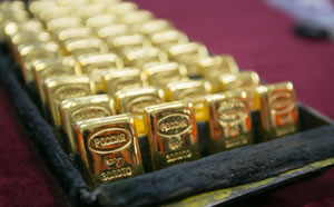 Rows of gold bullion