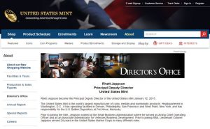 Screenshot of US Mint Webpage about Rhett Jeppson