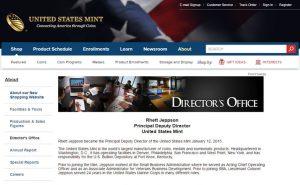 Screenshot of US Mint Webpage about Rhett Jeppson