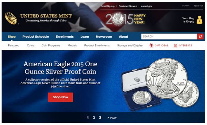 Screenshot of US Mint homepage