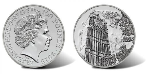 UK 2015 £100 Big Ben Silver Coin for £100