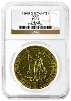 Rare 1897 British Trade Dollar in Gold Grades NGC PF61