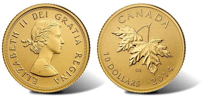 2015 $10 Maple Leaves Gold Coin with 1965 Effigy of Queen Elizabeth II
