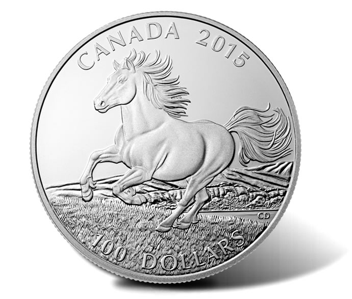 2015 $100 Canadian Horse Silver Coin