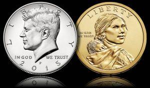 2015 Kennedy Half-dollar and Native Amercain $1 Coin
