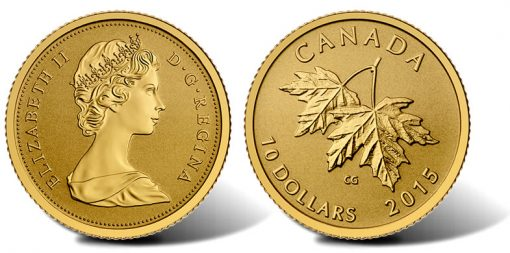 2015 Maple Leaves Gold Coin with 1965 Effigy of Queen Elizabeth II