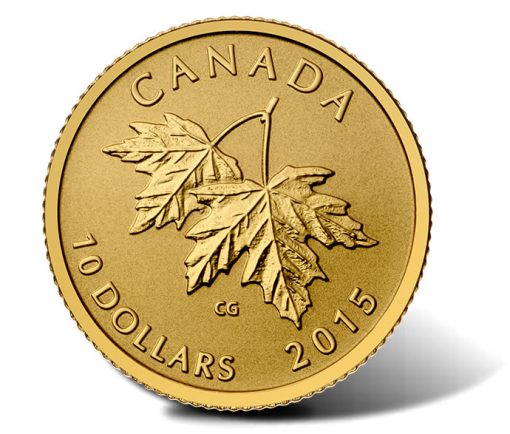 Reverse of the 2015 Maple Leaves Gold Coin