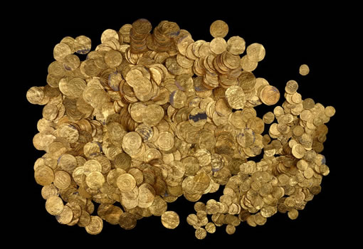 Gold coins from ancient harbor in Caesarea National Park