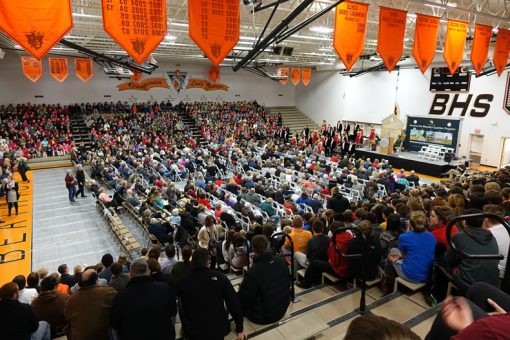 Homestead Quarter Ceremony Crowd in Beatrice High School Gymnasium
