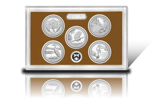 Lens and coins of 2015 America the Beautiful Quarters Proof Set