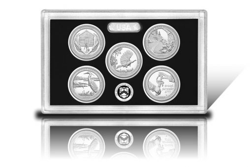 Lens and coins of 2015 America the Beautiful Quarters Silver Proof Set