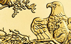 Portion of American Eagle gold bullion coin