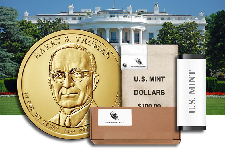 2015 D PRESIDENTIAL DOLLAR ROLL~Harry Truman~Head//Tail