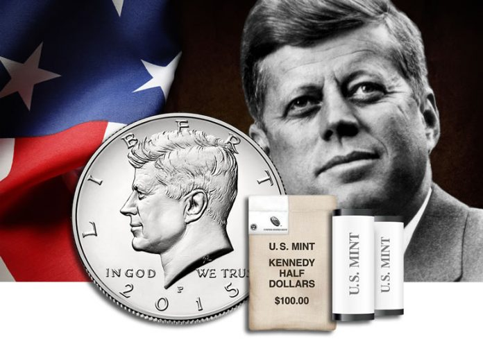Rolls and Bags of 2015 John F. Kennedy Half-Dollars