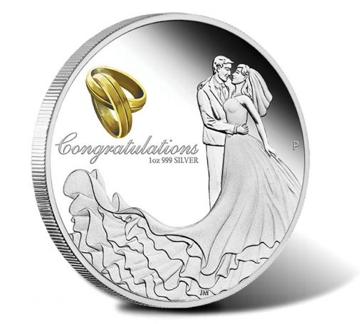 2015 $1 Wedding 1 Oz Silver Proof Coin