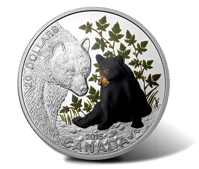 2015 $20 Bear Cub Silver Coin from 4-Coin Baby Animals Subscription