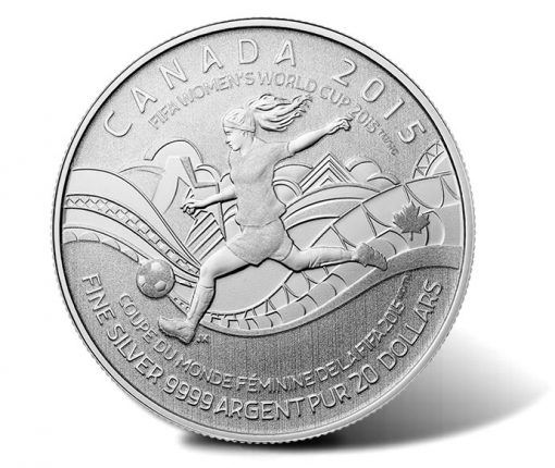 2015 $20 FIFA Women's World Cup Canada Silver Coin