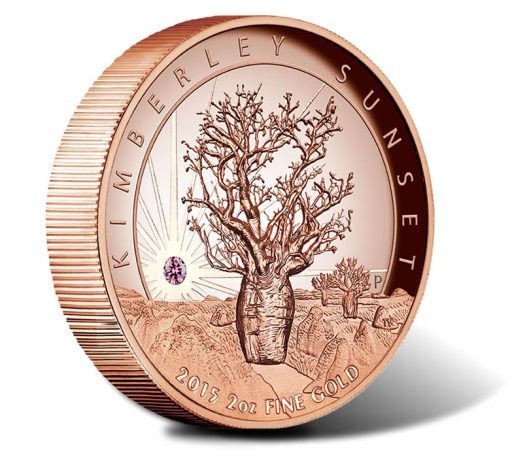 2015 $500 Kimberly Sunset 2 Oz Pink Gold High Relief Coin