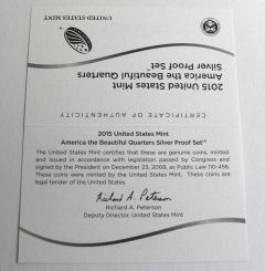 2015 America the Beautiful Quarters Silver Proof Set Certificate of Authenticity