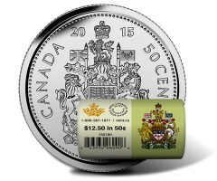 2015 50c Canadian Circulation Rolls in Special Wrap