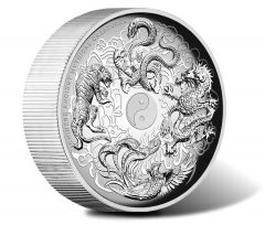 Chinese Ancient Mythical Creatures on 5 Oz Silver Coin