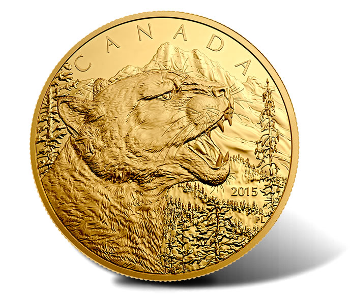2015 Growling Cougar One-Half Kilogram Gold Coin
