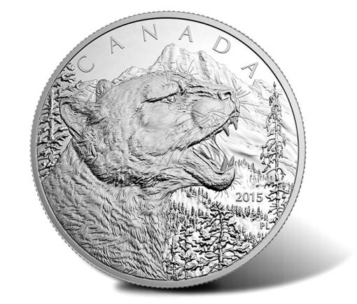 2015 Growling Cougar One-Half Kilogram Silver Coin