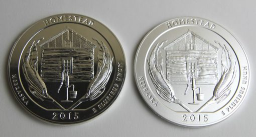 2015 Homestead 5 Oz Silver Bullion and Uncirculated Coins, Reverses