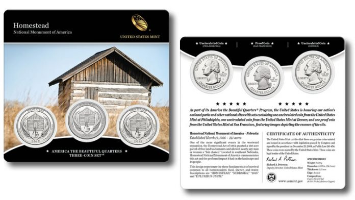2015 Homestead National Monument Quarters Three-Coin Set - Front and Back Side