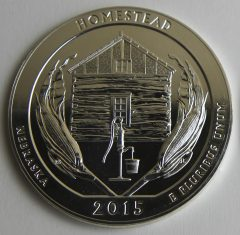 2015 Homestead National Monument of America Five Ounce Silver Bullion Coin, Reverse