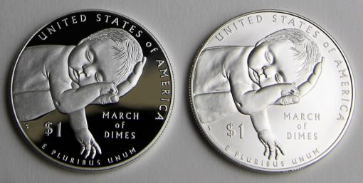 2015 March of Dimes Silver Dollars - Proof and Uncirculated, Reverse Sides