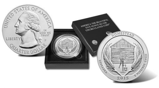 2015-P Homestead National Monument Five Ounce Silver Uncirculated Coin and Presentation Case