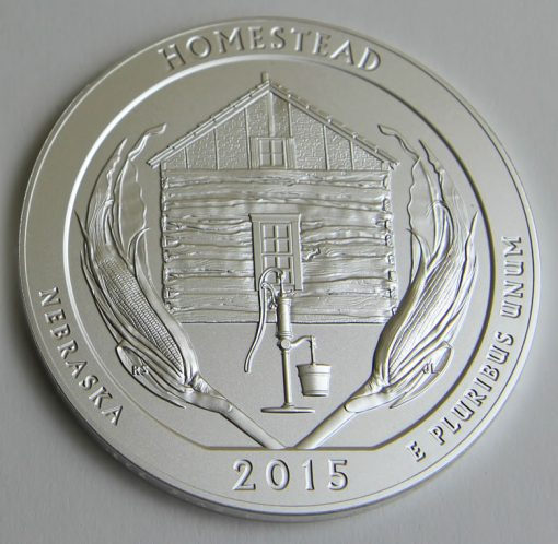 2015-P Homestead National Monument of America Five Ounce Silver Uncirculated Coin, Reverse