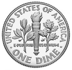 2015-W Proof Roosevelt Silver Dime - Reverse