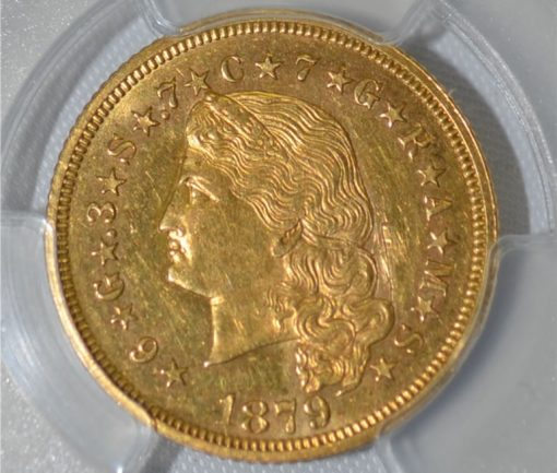 Close up recovered 1879 Stella gold coin