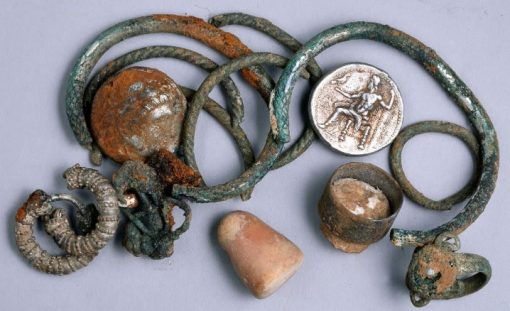 Coins and artifacts from Israel cave