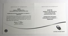 Homestead 5 Oz Silver Uncirculated Coin, Certificate of Authenticity