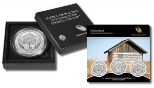 Homestead 5 oz Silver Uncirculated Coin and Homestead Quarters Three-Coin Set
