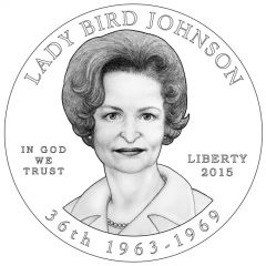 Lady Bird Johnson First Spouse Gold Coin Obverse Design