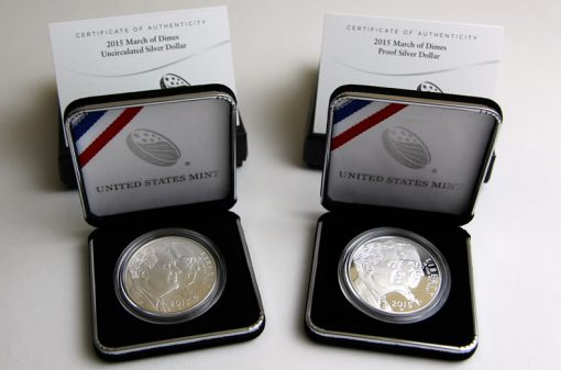 March of Dimes Silver Dollars - Uncirculated, Proof and Certs