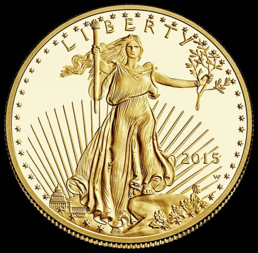 Obverse of the 2015 $50 Proof Gold Eagle