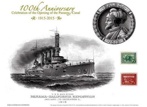 Panama Canal Commemorative USS San Diego Intaglio Print