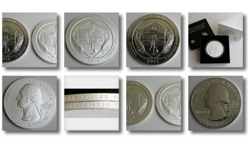 Photos of bullion and collector Homestead National Monument Five Ounce Silver Coins