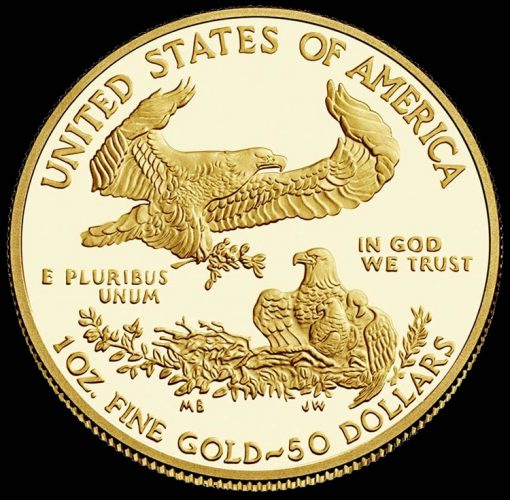 Reverse of the 2015 $50 Proof Gold Eagle