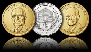 Truman $1, Homestead Quarter and Eisenhower $1