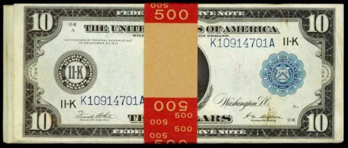 1914 $10 Federal Reserve Notes, Dallas - Half Pack
