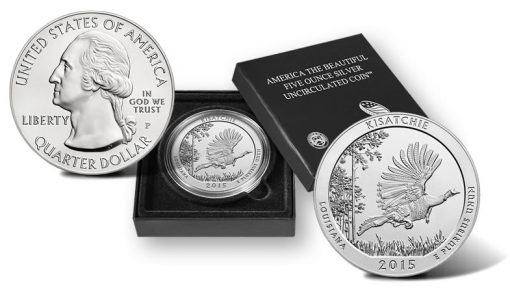 2015-P Kisatchie National Forest Five Ounce Silver Uncirculated Coin and Presentation Case