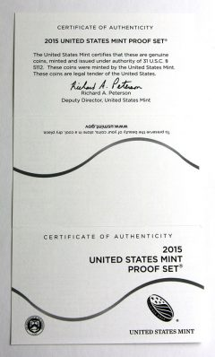 2015 Proof Set, Certificate of Authenticity