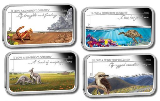 Rectangular coins of the 2015 Sunburnt Country Silver Set